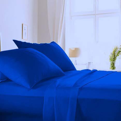 Made in Italy - Completo Lenzuola per letto 1 Piazza e Mezza+1 Federa cuscino in puro cotone di alta qualità 100% Made in Italy (sotto con Angoli H 20cm) Angel's (Blu Royal, 1 piazza e mezza)