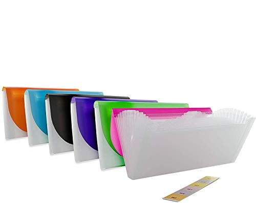 13-Pocket Check Size Poly Expanding File High Capacity Plastic Business Portable Accordion File Bag Folder Office Organizer for Receipts and Checks Pack of 6 - by Emraw