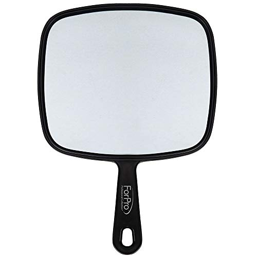 "ForPro Large Hand Mirror, Multi-Purpose Mirror with Distortion-Free Reflection, Black, 9"" W x 12"" L"