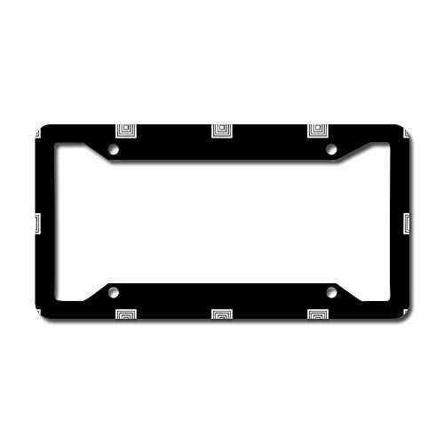 Black And White Small Geometrical Personalized Stainless Steel Chrome Polish Mirror Metal Car License Plate Frame Auto Tag Holder - 12'X6' For Universal Cars