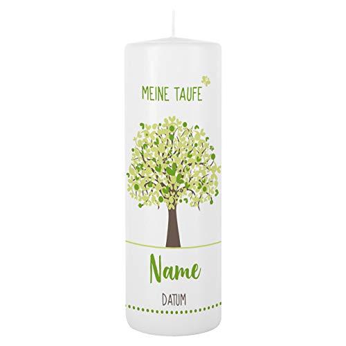 Striefchen® Taufkerze 250/80 mm mit Lebensbaum und Aufdruck des Namen und Datum sowie Taufspruch Weiß - Grün