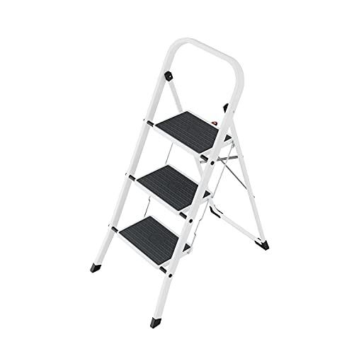 Hailo HobbyStep Stahl-Klapptritt-Leiter | 3 breite Stahl-Stufen mit Anti-Rutsch-Matten belastbar bis 150 kg | Trittleiter mit Klappsicherung | geriffelter ganzflächig aufstehender Steckfuß | weiß
