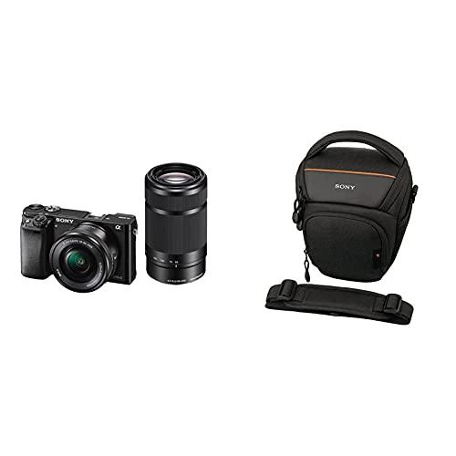 """Sony Alpha 6000 Systemkamera (24 Megapixel, 7,6 cm (3"""") LCD-Display) inkl. SEL-P 16-50 mm und SEL 55-210 mm Objektiv, 120 x 66,9 x 45,1 mm, schwarz & LCS-AMB Kameratasche für Sony Alpha-Kamera"""