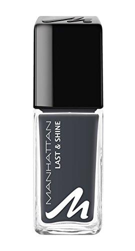 Manhattan Last & Shine Nagellack – Dunkelgrauer, glänzender Nail Polish für 10 Tage perfekten Halt – Farbe Girl In Grey 945 – 1 x 10ml