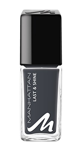 Manhattan Last & Shine Nagellack – Dunkelgrauer, glänzender Nail Polish für 10 Tage perfekten...