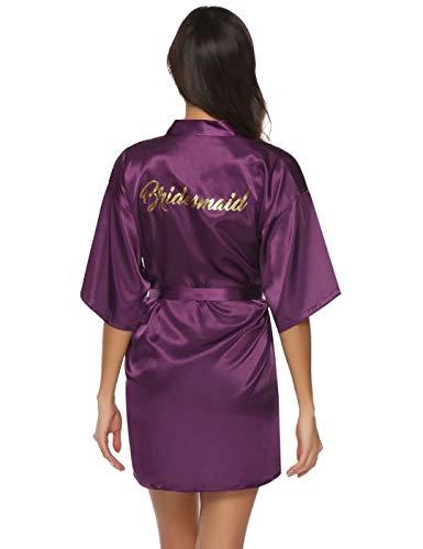 Aiboria Dames Kimono Kamerjas Bruid Bruidsmeisje Gewaden Satijnen Kimono Bruidsfeest Bruidsmeisje Geschenken Pure Kleur met Schuine V-hals