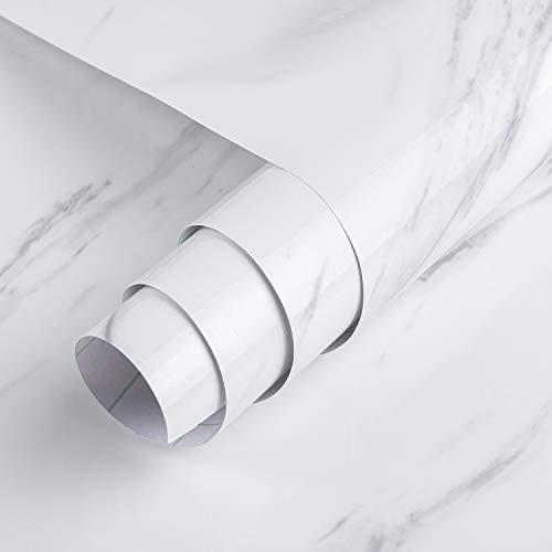 TOTIO Jazz Papel pintado de mármol blanco Pelar y pegar Papel de contacto de granito para encimeras autoadhesivas vinilo Cocina Pegatinas de pared impermeables a prueba de aceite