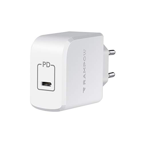 RAMPOW USB C Caricatore, 61W Power Delivery Caricatore USB C con Tecnologia GaN, Caricatore USB C da Muro per MacBook, MacBook Air, Samsung Galaxy S20, HUAWEI Mate 30 Pro - Bianco