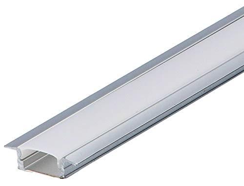 Set: LED Profil, 100cm Profil LED für LED Streifen, Aluminium led Profil + Abdeckung (Milchig) LT6