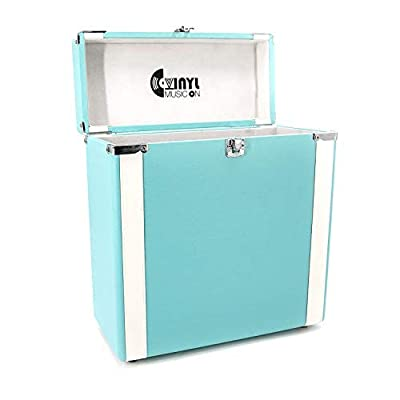 VMO Record Storage Carrying Case for 30+ for Vinyl Turntable Albums (Turquoise)