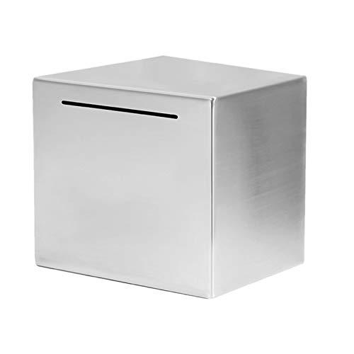 DELITLS Hucha segura para adultos y niños, hecha de acero inoxidable, caja fuerte para ahorros de dinero para amantes, solo puede ahorrar la hucha que no se puede quitar (tamaño: 15 x 15 cm)