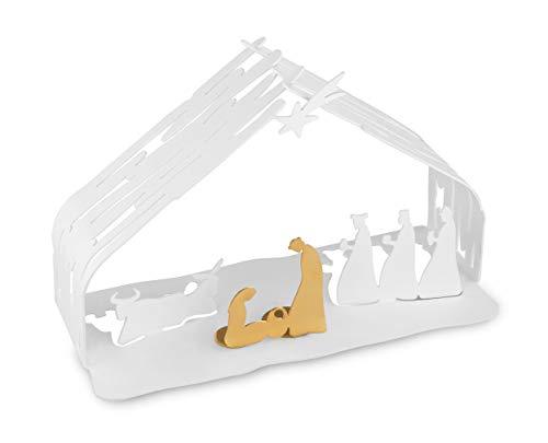Alessi Bark Crib BM09 W - Design Weihnachtskrippe Reproduktion mit goldenen Details, Edelstahl, Weiß