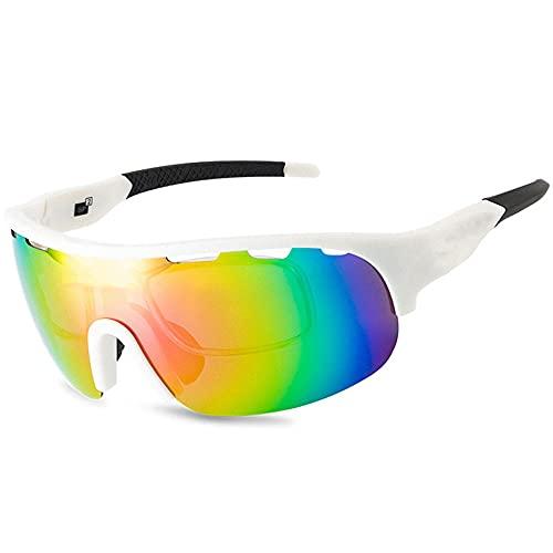Wsaman Polarisierte Sportbrille, Fahrradbrille für Männer Frauen, Photochrome mit UV400 Schutz, Fahrradbrille für Outdoorsports wie Radfahren, Autofahren, Laufen, Angeln, Biking,D,Unisex