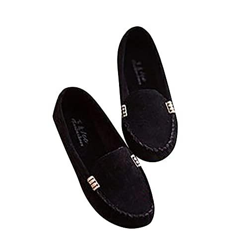 Zapatos planos para mujer con cordones y punta cerrada, cómodos, con hebilla metálica, para mujerZapatillas huecas transpirables zapatos de agujero plano