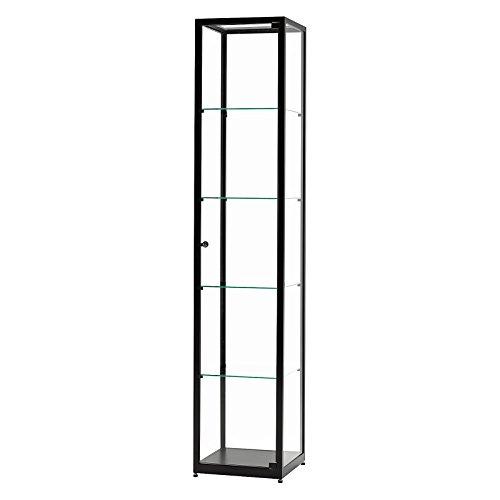 DELIGHT DISPLAYS Vitrine Glasvitrine Standvitrine Sammlervitrine Eco 400 Alu Schwarz Glas abschließbar