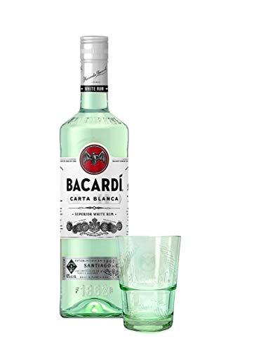 BACARDI Cadeau Rhum blanc Carta Blanca, coffret en édition spéciale, une bouteille 70 cl et un verre pour savourer des cocktails