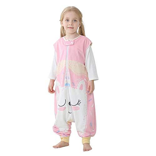 Saco de Dormir con Pies para Niños 1.5 Tog Bolsa Dormida Cremallera Frontal Sin Mangas Pijama Peleles para Dormir, 3-5 Años