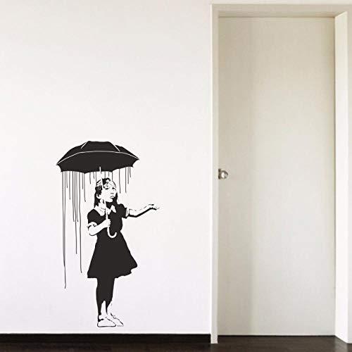 artaslf Banksy Regenschirm Mädchen Regen abnehmbare Vinyl Wandkunst Aufkleber Wohnzimmer Schlafzimmer Mädchen Zimmer Flur Porträt Home Fenster Aufkleber 42x74cm