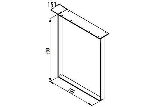 TABLON KUFE für einen Anrichttisch aus stabilem Edelstahl mit großer Anschraubplatte / Tischuntergestell / Tischunterbau / Tischfuß mit breiter Anschraubplatte