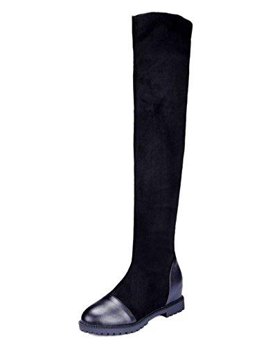 Minetom Donna Autunno Inverno Tacco Piatto Stivali Sexy Allungare Faux Slim Stivali Alti Sopra il Ginocchio Stivali Nero EU 43
