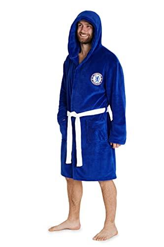 Chelsea F.C. Mens Dressing Gowns, Men Fleece Hooded Robe S-3XL, Football Gifts (Blue, M)