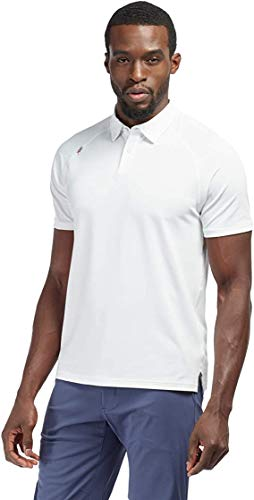 Rhone Men's Delta Pique Polo, Breathable and Cooling Stretch Fabric, Quick-Dry, Goldfusion Anti-Odor Technology (White, Medium)