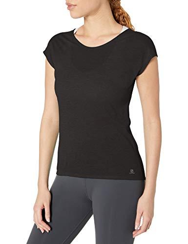 SALOMON Coet SS Tee T-Shirt à Manches Courtes pour Femme M Noir/Bruyère