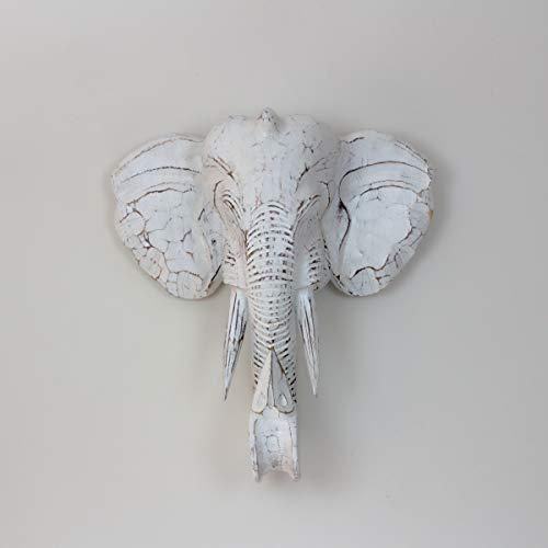 Rococo Figura Elefante de Pared Tallada en Madera de 50x45cm Wall Blanco