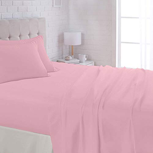 Natura Pura Premium 4 Piece Sheet Set | 100% Egyptian Cotton|1000 Thread Count| Twin XL 39' X 80' Size 1 Piece Flat + Fitted 24 Inch Deep Pocket + 2 Piece Pillow Case Baby Pink Solid