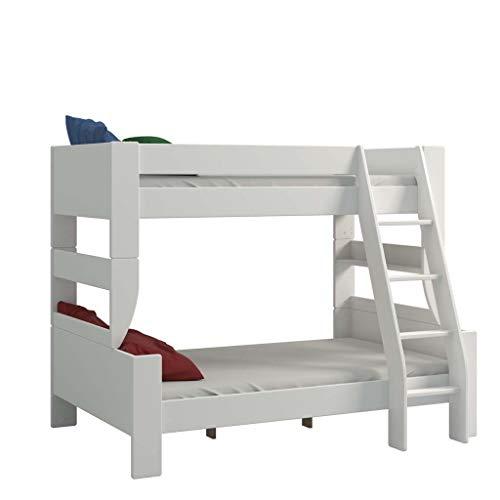 Steens 2916360050001N For Kids Kinderbett, Etagenbett, 145 x 206 x 164 cm, inkl. Lattenrost und Absturzsicherung, Liegeflächen 90 x 200 cm & 120 x 200 cm, MDF, weiß