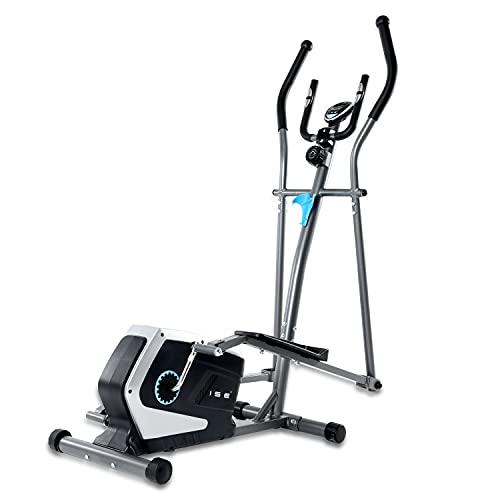 ISE Vélo elliptique d'appartement Magnétique Crosstrainer Adulte, écran LCD, Pulsomètre, 8 Niveaux de Résistance, Poids d'inertie de 8 KG, Max 120 kg SY-9801