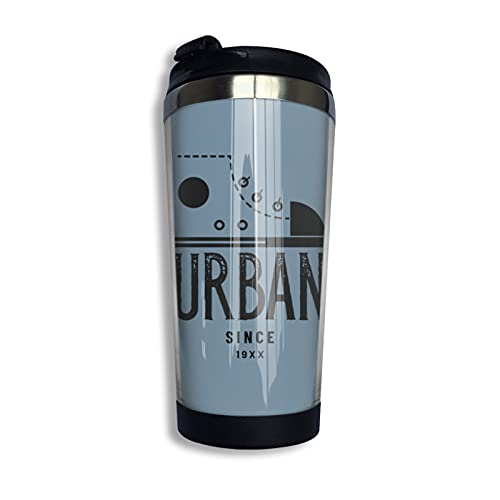 mengmeng Urban Retro Style 19XX - Taza de café aislada con tapa a prueba de fugas, aislamiento al vacío, de acero inoxidable, reutilizable para agua caliente y agua fría y té, 400 ml