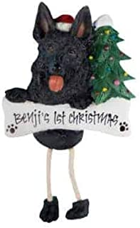 German Shepherd - Black - (Unique Christmas Tree Ornament - Classic Decor for A Holiday Party - Custom Decorations for Family Kids Baby Military Sports Or Pets)