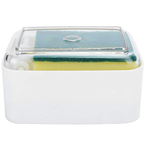 Cikonielf Dispensador de jabón para Platos de Material ABS PS Tipo de Prensa Dispensador automático de jabón líquido para encimera de Fregadero de Cocina(Blanco)