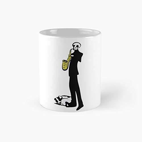 Taza clásica con diseño de calavera Jazz | El mejor regalo divertidas tazas de café de 325 ml
