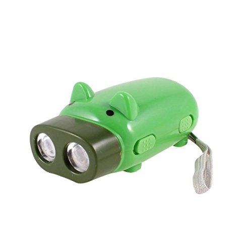 Cerdo de dibujos animados verde en forma de ahorro de la energía 2 LEDs presionado a mano linterna antorcha