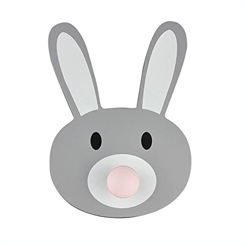 mokinu® Garderobenhaken für Kinder – Hase Tierkopf Kleiderhaken aus Holz – Waldtiere & Dschungel Tierköpfe