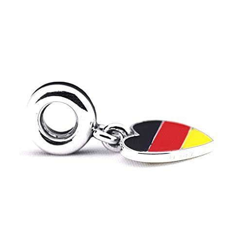 Pandora 925 pulsera de joyería natural se adapta a plata esterlina Alemania corazón bandera perlas con negro rojo y amarillo esmalte encanto mujeres regalos