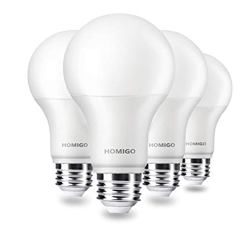 Homigo A30 LED Light Bulbs, 20W 150 Watt Equivalent, 1800LM, 5000K Daylight White, Non-Dimmable LED Light Bulbs, Standard Replacement Bulbs with E26 Base for Indoor Outdoor (4 Pack)