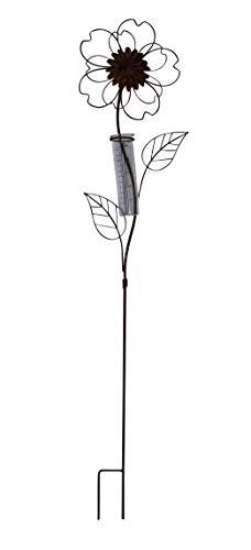 ARTECSIS 1x Gartenstecker Regenmesser Blume aus Metall Edelrost für Balkon, Garten, Terrasse