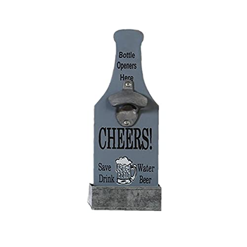 Abridores de botellas montados en pared, abridor de botellas, abridores de botellas de cerveza de madera retro, abrelatas de forma de botella de vino montadas en la pared con letras Catcher