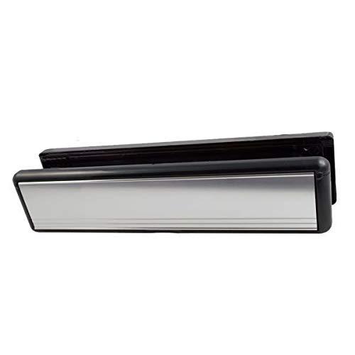 HomeSecure Briefschlitz für Türeinwurf, 20-40mm, PVCU, 25,5cm lang, mattes Silber
