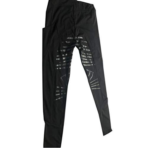 HZQIFEI Reithose Damen, Vollbesatzreithose mit Elastischem Beinabschluss Nachhaltige Reitleggings Silikon Grip Leicht Reithose (Schwarz, L)