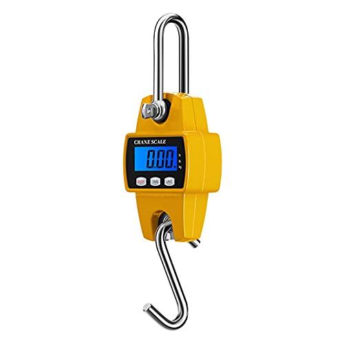 Mini Báscula De Grúa Digital, Báscula De Equipaje Portátil, con Pantalla LCD, 3 Unidades De Pesaje, 300 Kg / 50 g, para Bolsa De Viaje, Pesca, Pesaje para Colgar Equipaje,Yellow