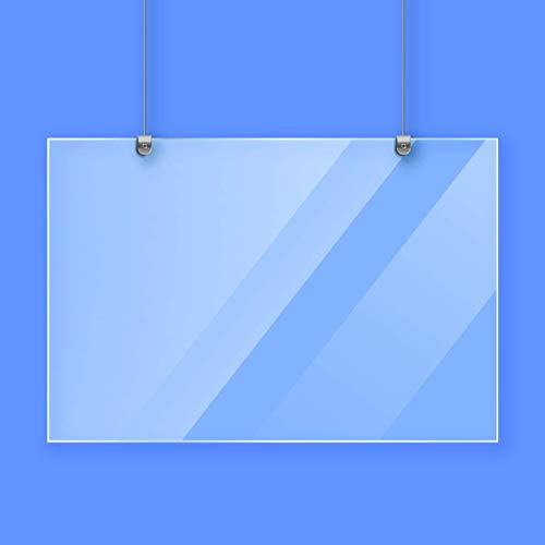24x32' ClearAcrylic Hanging Sneeze Guard Plastic ShieldforCounter with 3 Foot Adjustable Hanging | Hardware Plexiglass Barrier Use for CashierProtection Screen