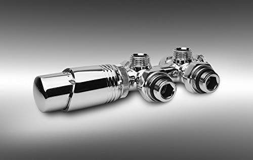 Multiblock Heizkörper Thermostat Heizungszubehör Ventil Anschlussgarnitur H Valve chrom (pulverbeschichtet)