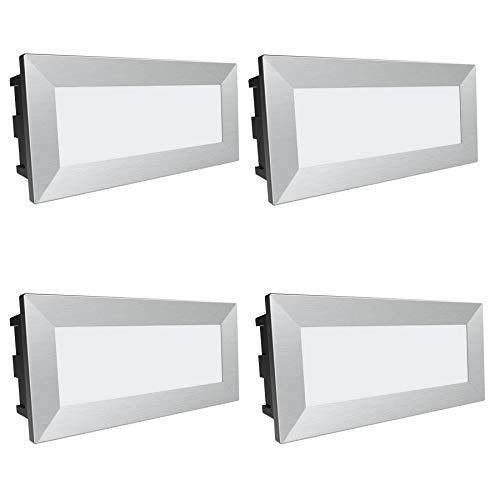 """SSC-LUXon, lampada da parete a LED """"Piko-L"""", confezione da 4 pezzi, faretto da incasso a parete di grandi dimensioni, con protezione IP65, per esterni, 230 V / 3,5 W, colore luce: bianco caldo"""
