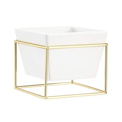 Amazon Basics - Macetero de mesa, cuadrado, blanco/latón