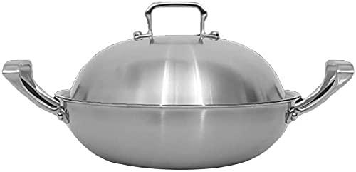 Wok Pan no Stick para la Olla de Cocina de Acero Inoxidable Wok o Restaurante (con Tapa (Size : 38Cm)