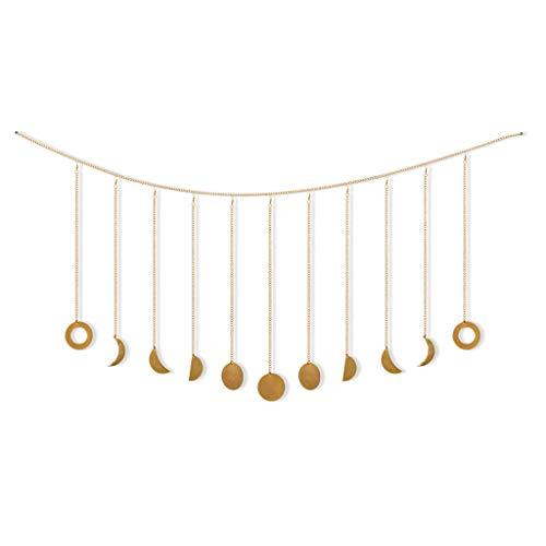 JOYKK maan fase slinger met kettingen Boho schijnende muur opknoping ornamenten bruiloft huis - goud